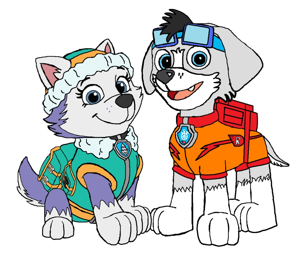 marshall paw patrol coloring page - paw patrol racer pup and everest
