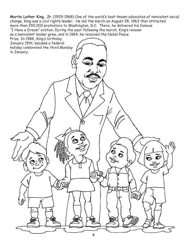 martin luther king coloring pages - african american leader coloring book