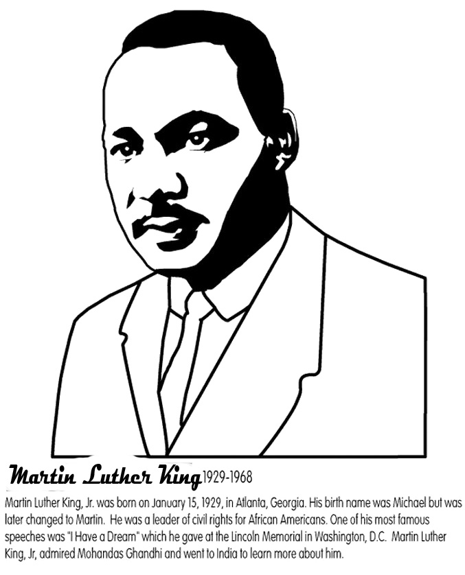 martin luther king jr coloring pages printable - martin luther king jr coloring pages worksheets