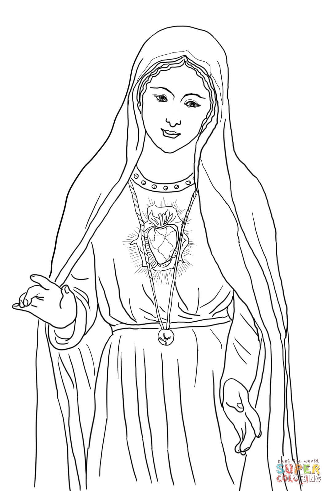 mary coloring pages - immaculate heart of mary
