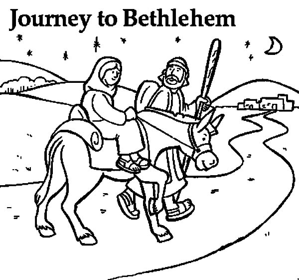 mary coloring pages - joseph walking beside mary and the donkey coloring pages 2