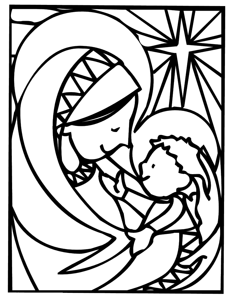 mary coloring pages - mother mary christmas coloring pages
