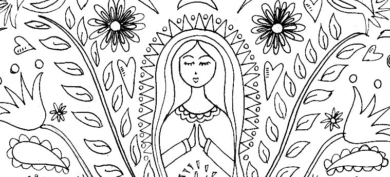 mary coloring pages - mother mary pattern