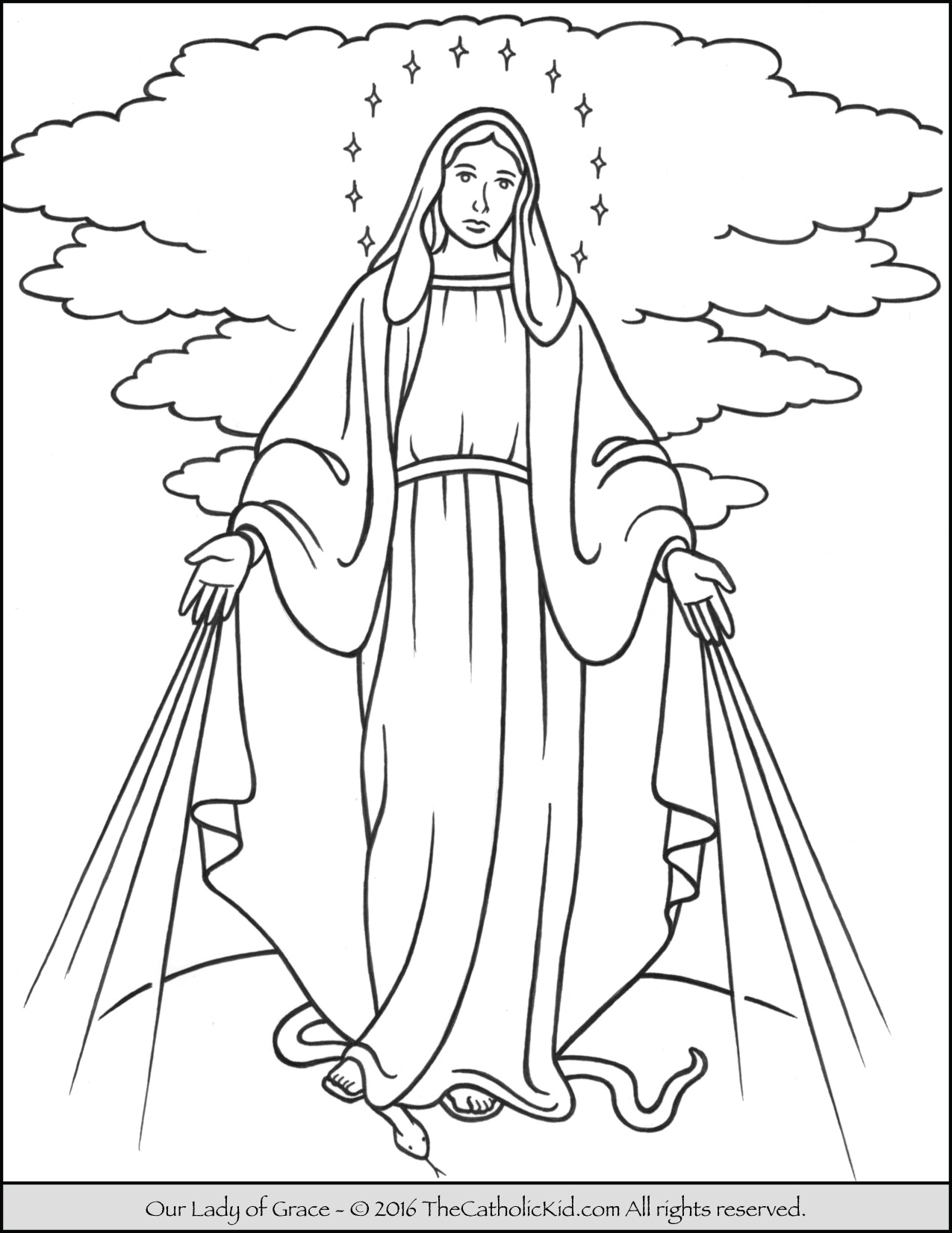 mary coloring pages - our lady of grace coloring page