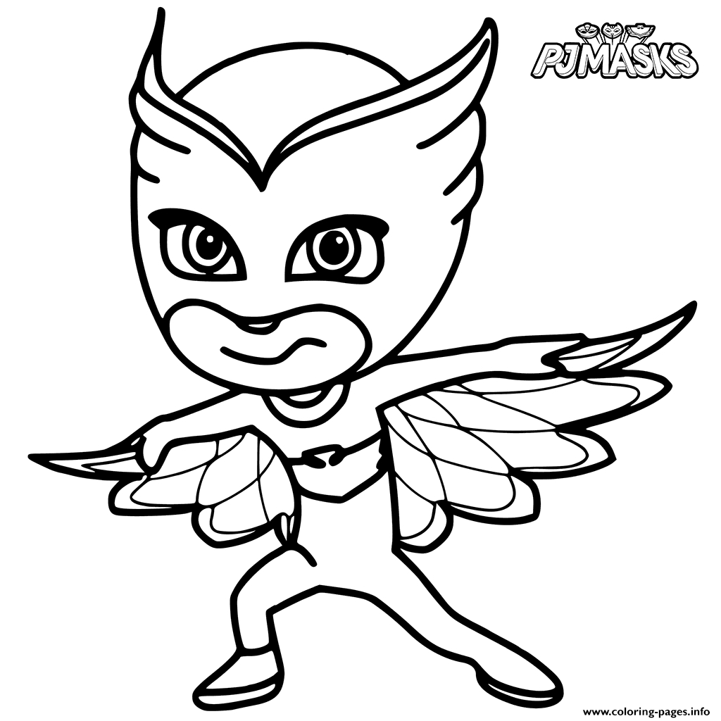 mask coloring pages - colour in owlette from pj masks printable coloring pages book