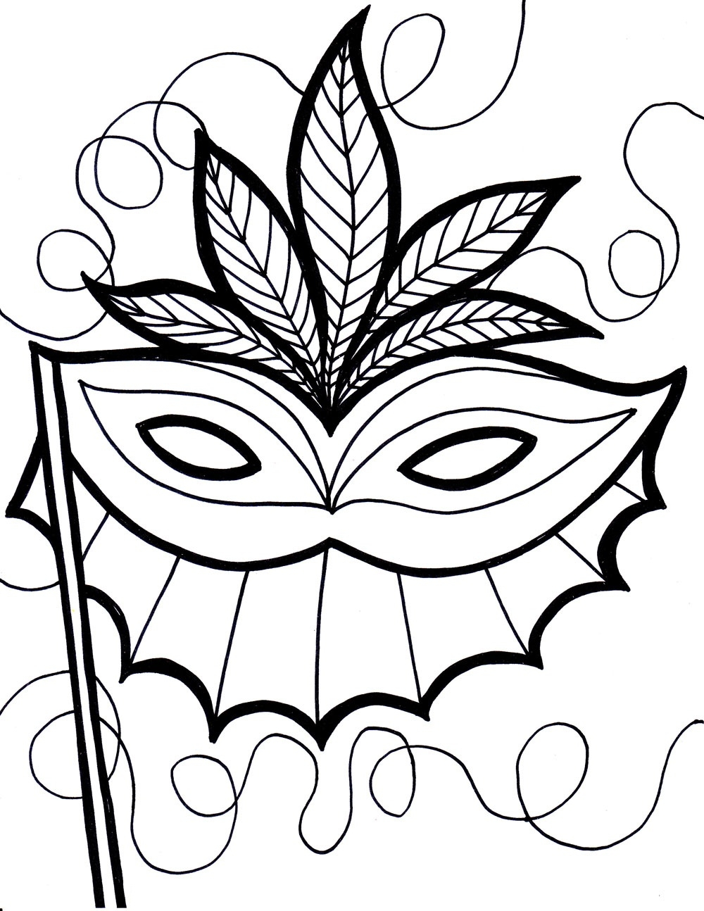 mask coloring pages - printable mask coloring pages