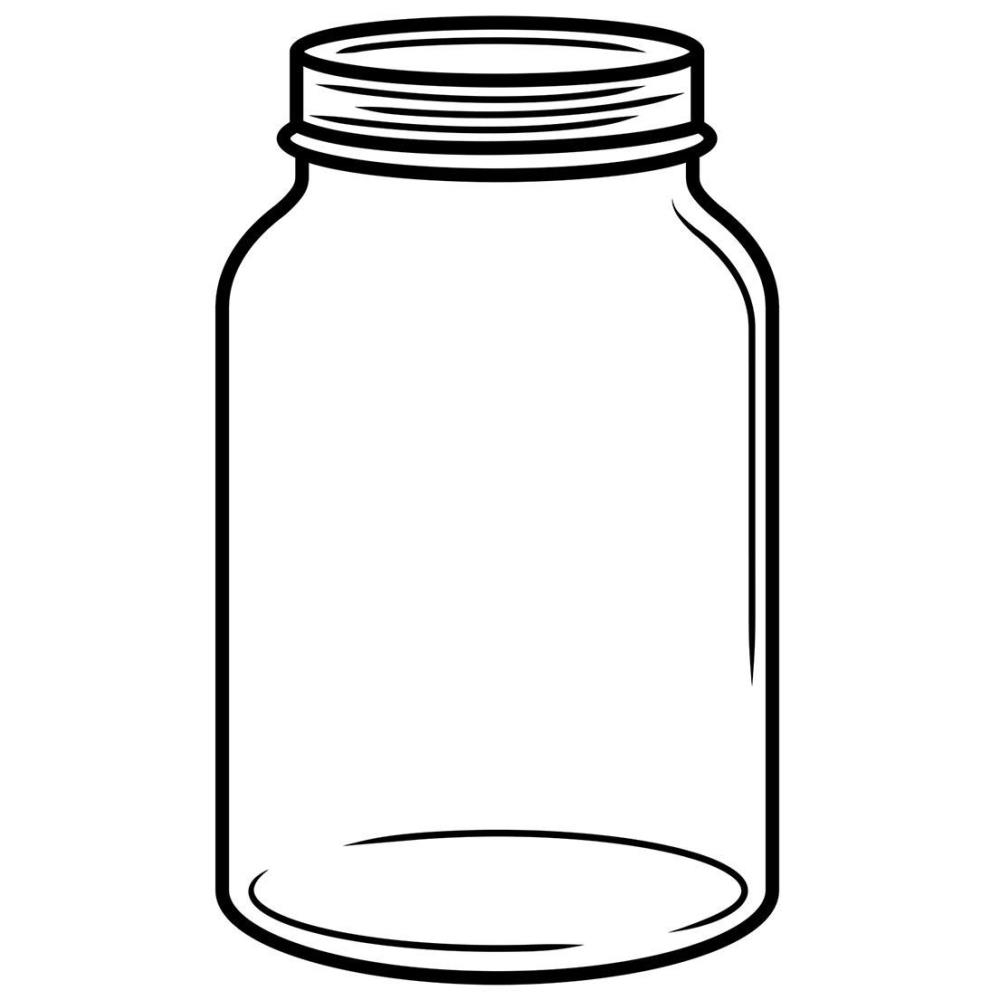 mason jar coloring page - clear jar