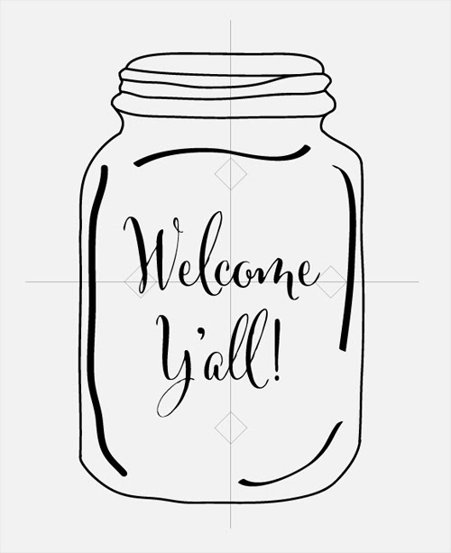 mason jar coloring page - wel e yall door hanger tutorial