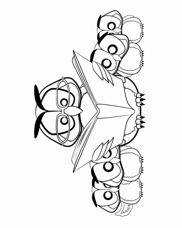math coloring pages - owl reading to a family