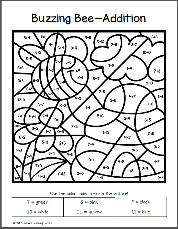 math coloring pages - spring color by number worksheets