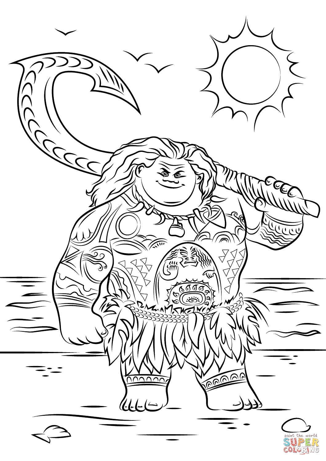 maui coloring pages - maui from moana