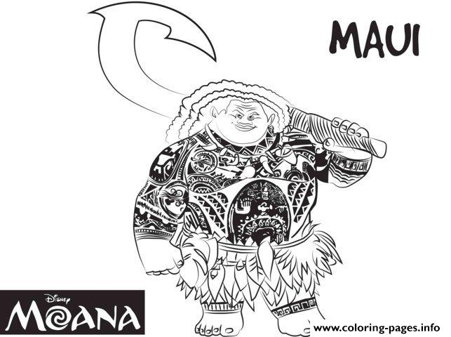 maui coloring pages - maui strong man from moana disney printable coloring pages book