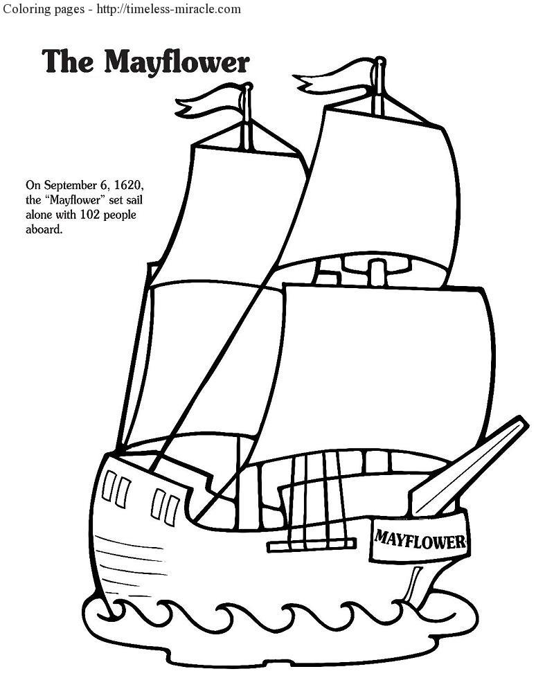 mayflower coloring page - free thanksgiving coloring pages mayflower