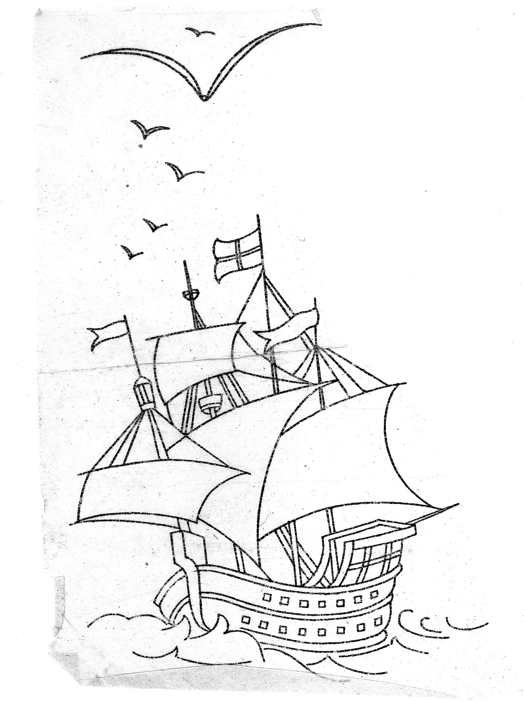 Magnificent Mayflower Ship Coloring Page Illustration - Coloring ...