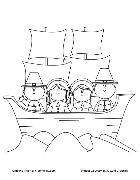 mayflower coloring page - thanksgiving coloring pages
