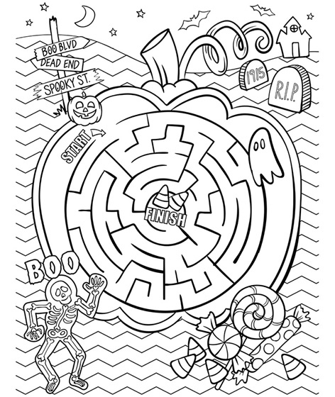 Maze Coloring Pages - Halloween Maze Coloring Page