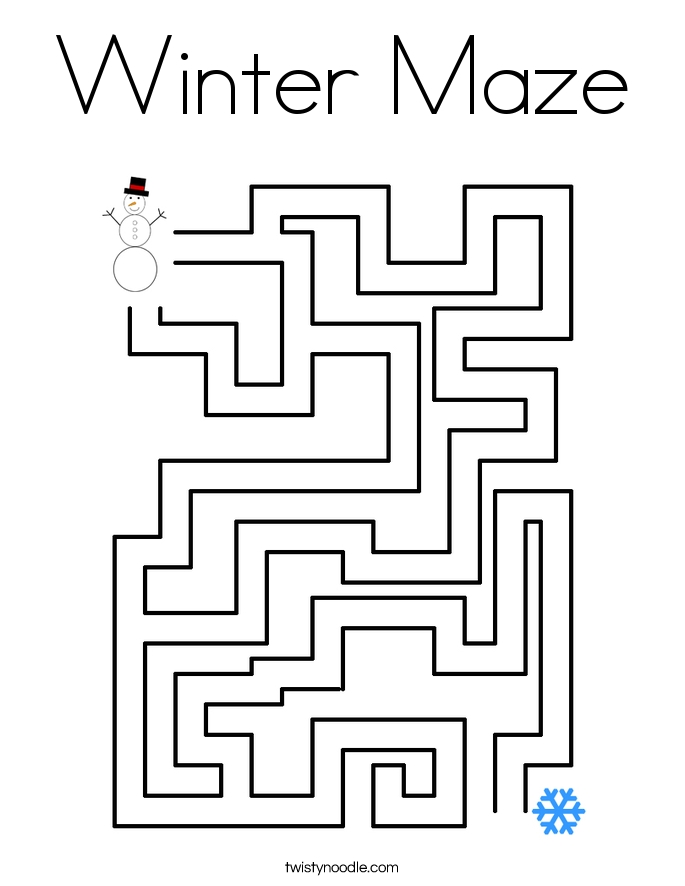 maze coloring pages - winter maze coloring page
