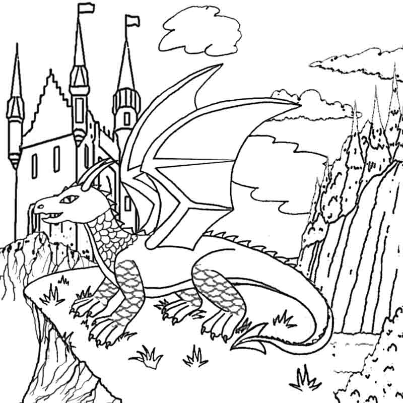 medieval coloring pages - me val dragon coloring pages