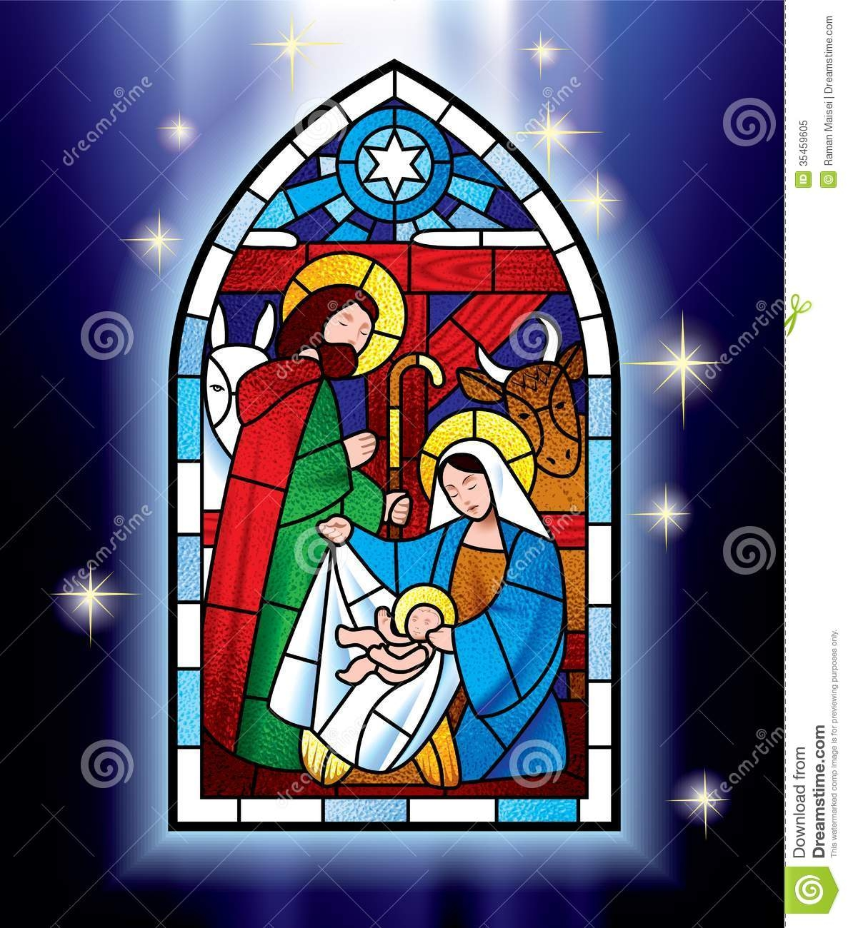 Menorah Coloring Page - Christmas Stained Glass Window Stock Vector Image