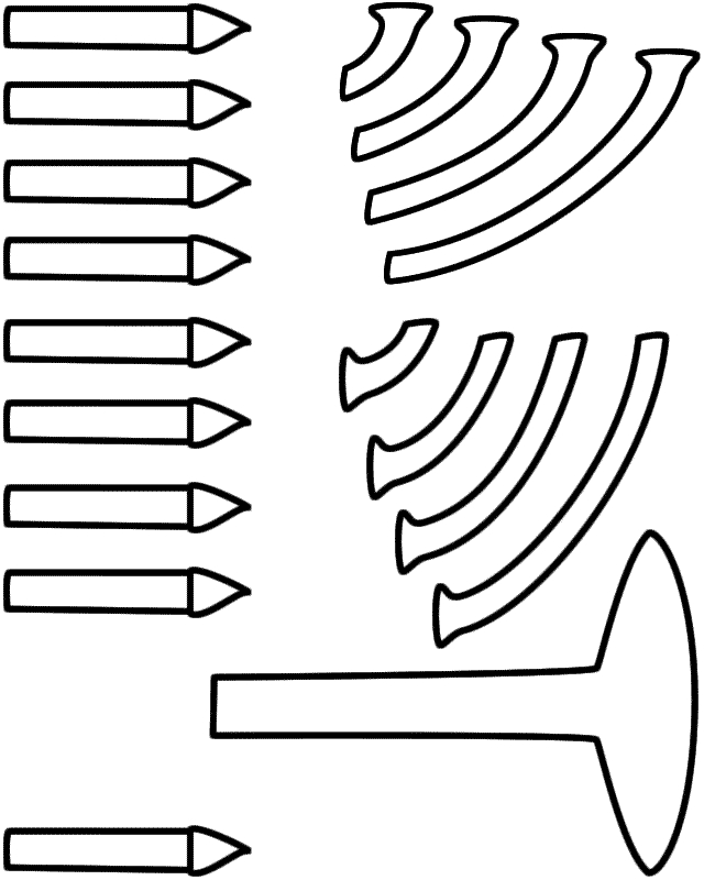 menorah coloring page - menorah bw