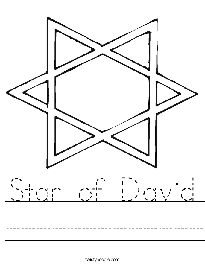 menorah coloring page - star of david worksheet
