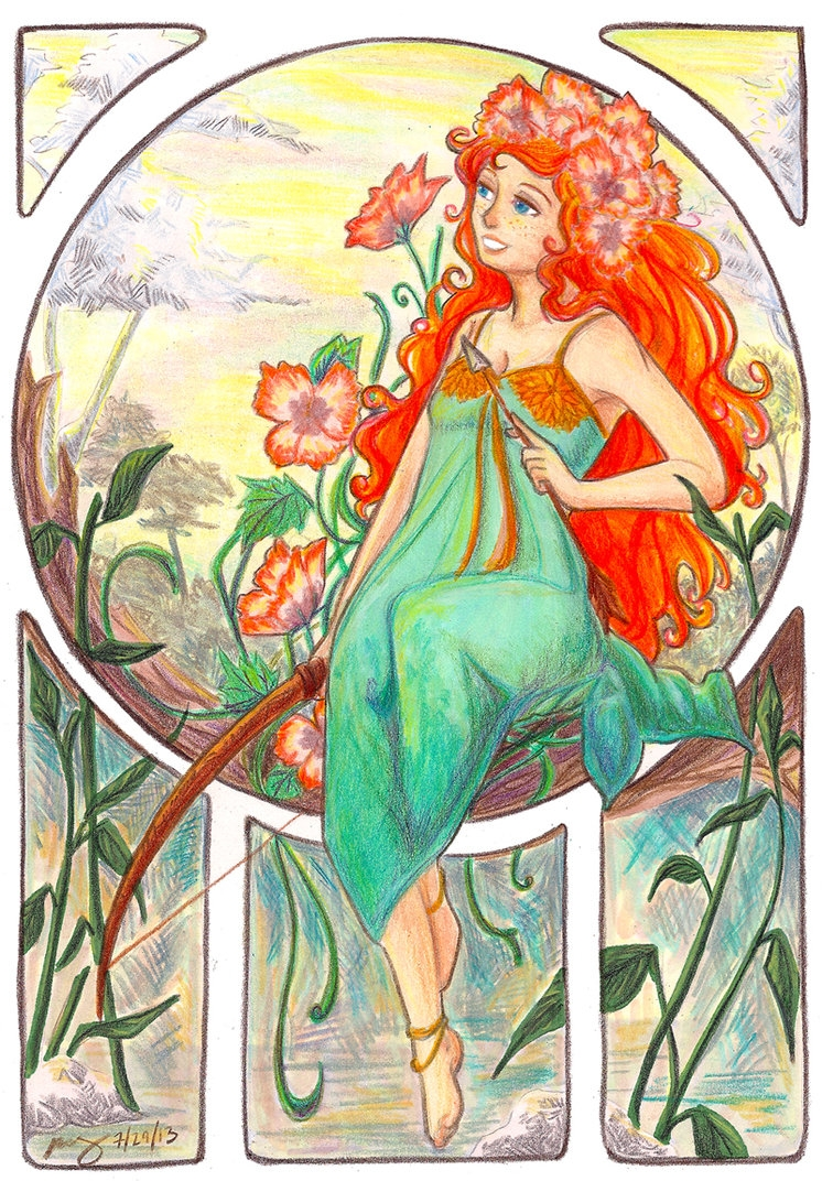 merida coloring pages - Art Nouveau Study Merida DunBroch