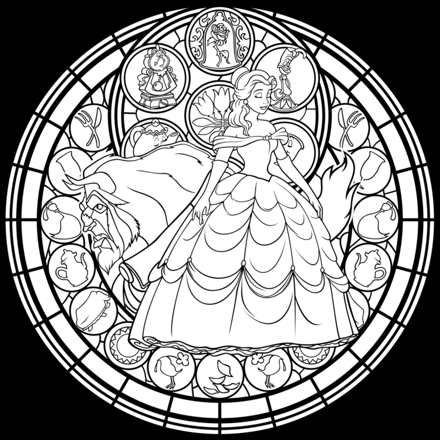 merida coloring pages - disney stained glass coloring pages