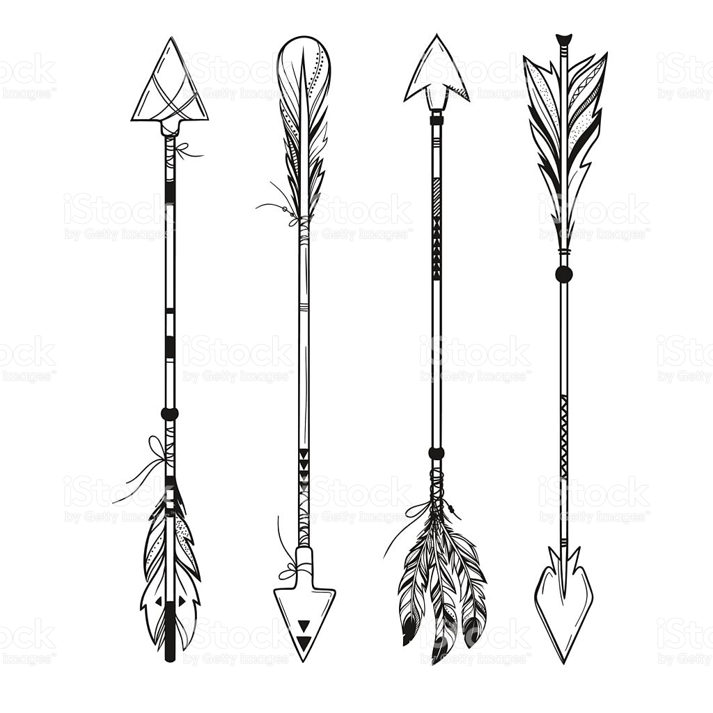 merida coloring pages - set of boho arrows vector illustration gm