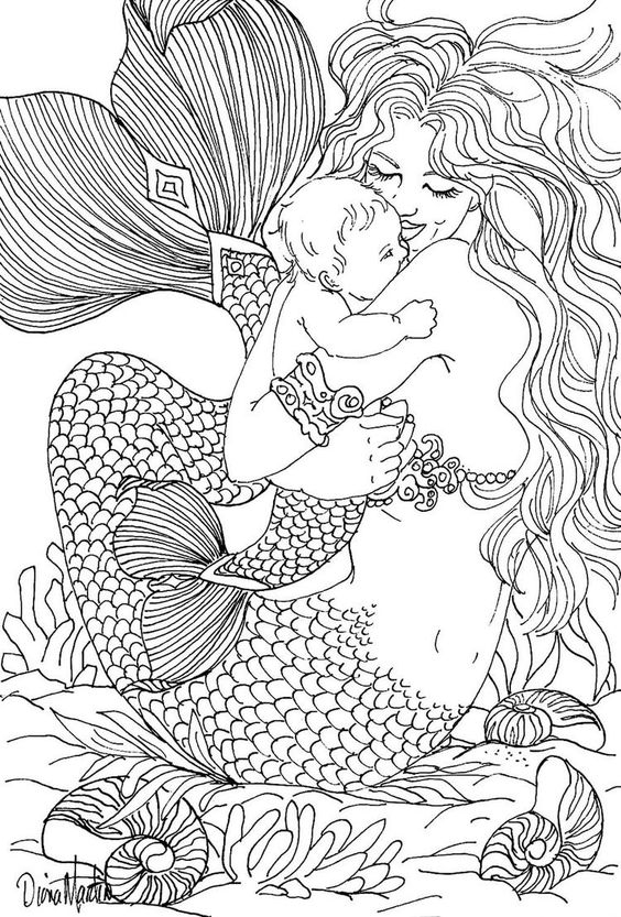 Mermaid Coloring Pages for Adults - Free Coloring Page Coloring Adult Mermaid and Child