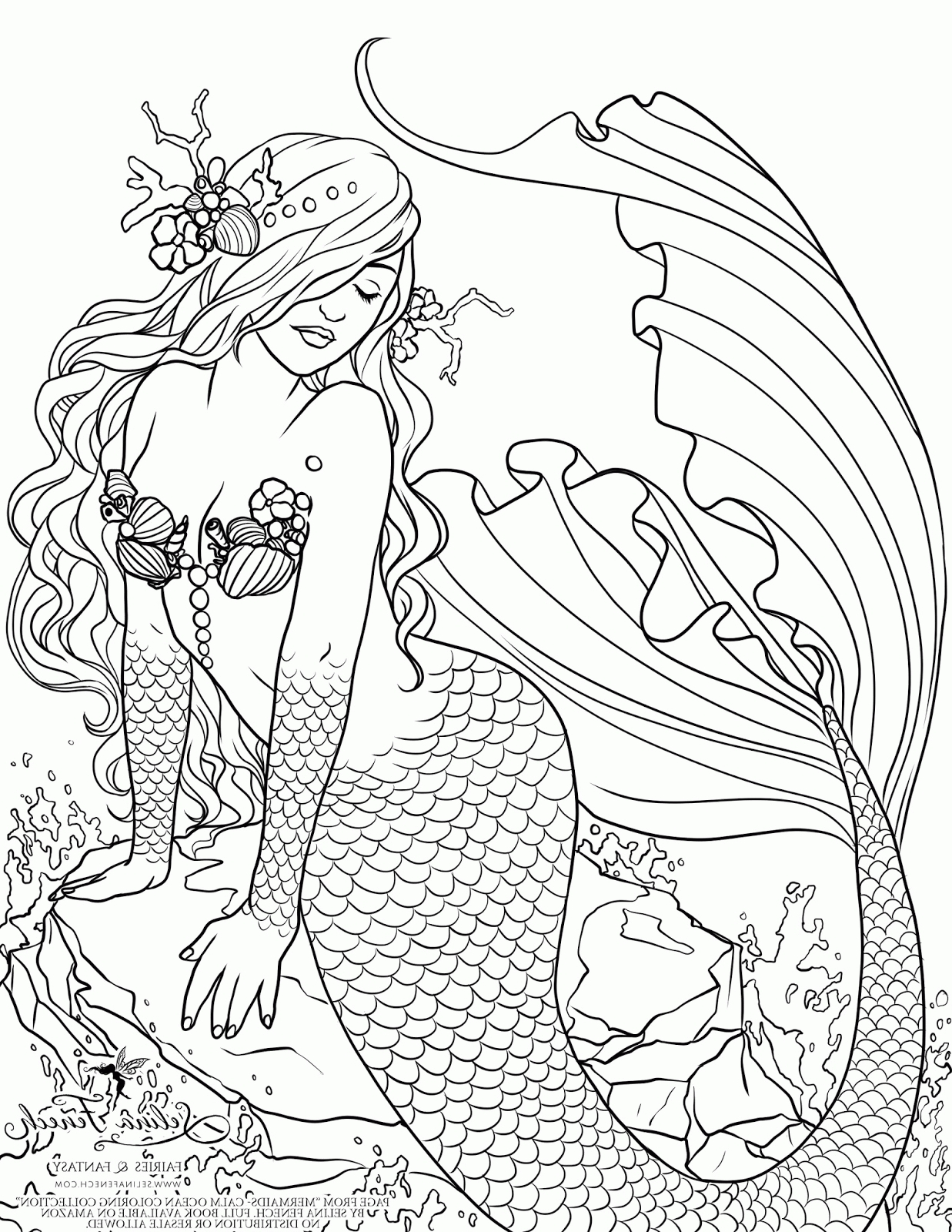 mermaid coloring pages for adults - mermaid coloring pages for adults