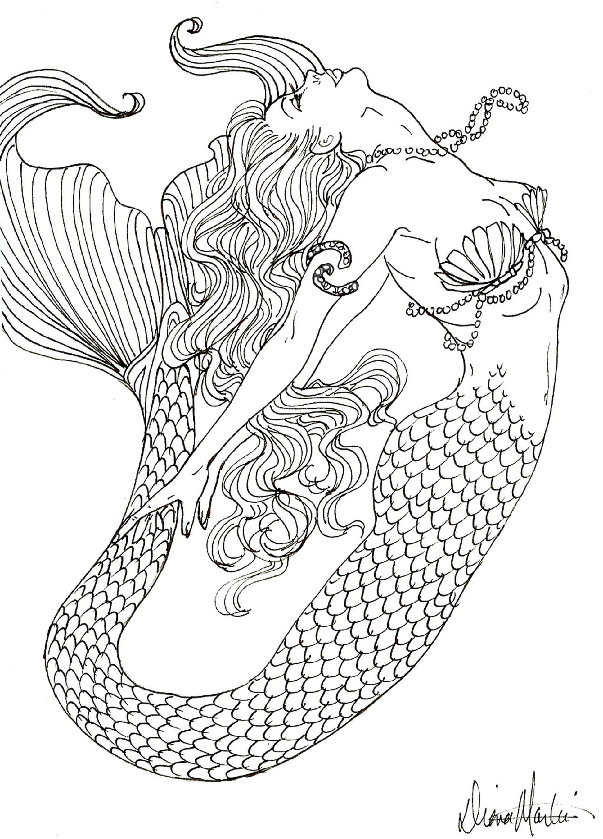 mermaid coloring pages for adults -