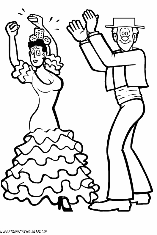 mexico coloring pages - bailarinas flamenco 014