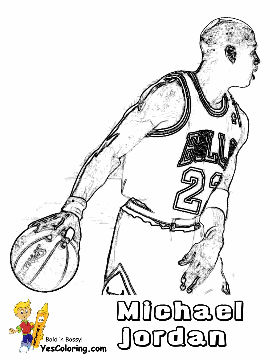michael jordan coloring pages - basketball coloring pictures