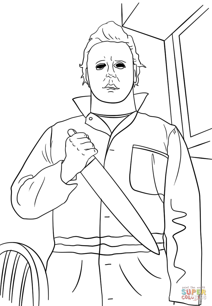 michael myers coloring pages - halloween michael myers coloring pages with disney sketch templates