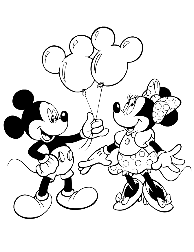 mickey and minnie mouse coloring pages - mickey giving minnie mouse balloons