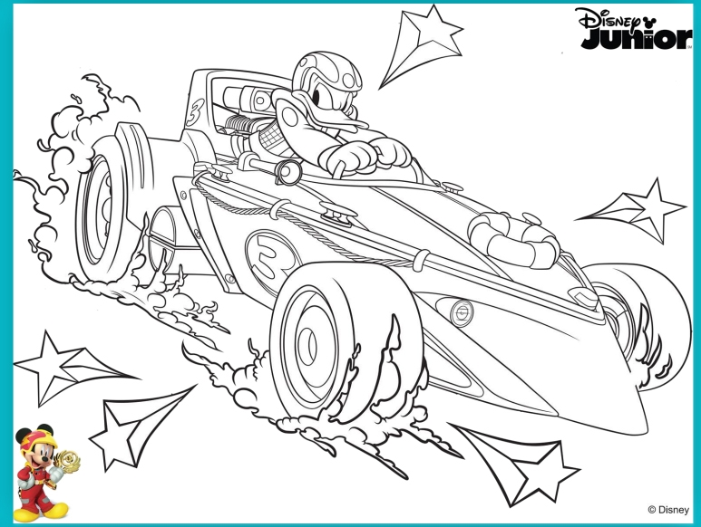 mickey and the roadster racers coloring pages - dibujos para colorear de mickey aventuras sobre ruedas