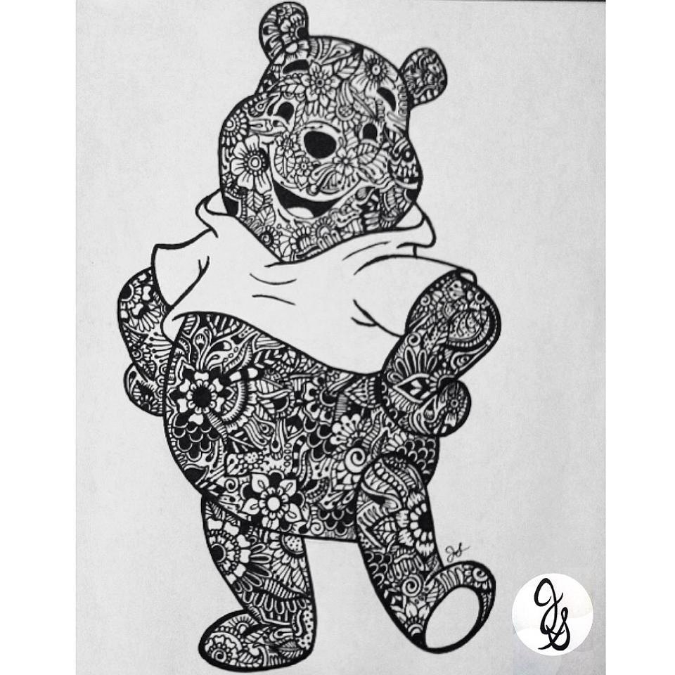 mickey mouse birthday coloring pages - floral pooh bear