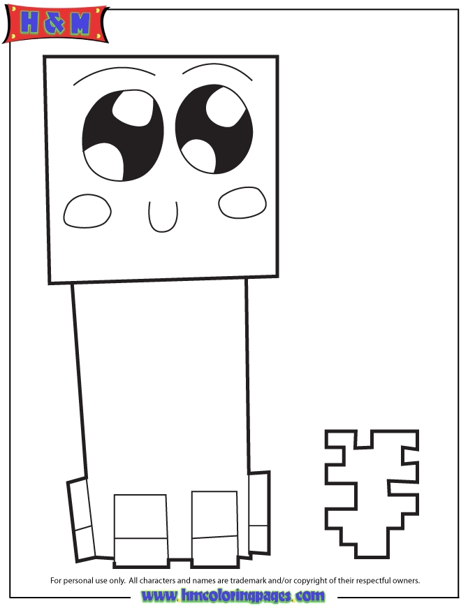 minecraft creeper coloring page - cute creeper