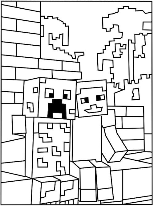 minecraft creeper coloring page -