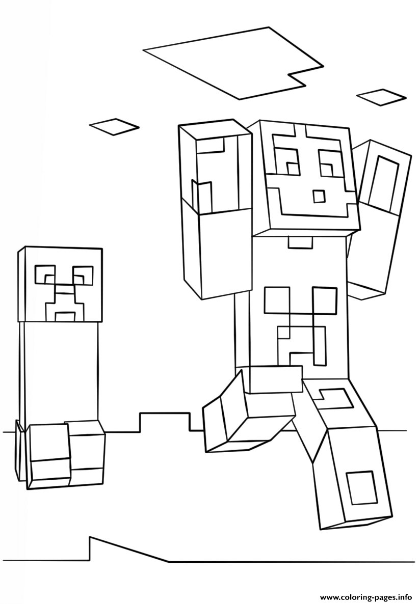 minecraft creeper coloring page - minecraft steve and creeper printable coloring pages book