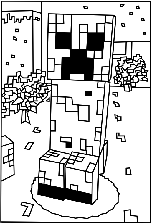 minecraft creeper coloring page - print minecraft creeper colouring page