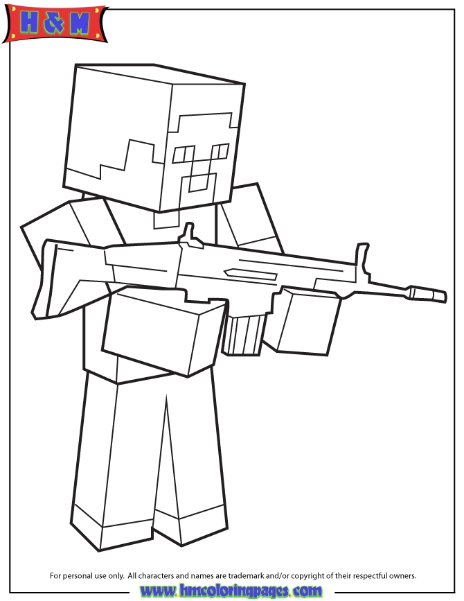 minecraft steve coloring pages - q=steve and creeper