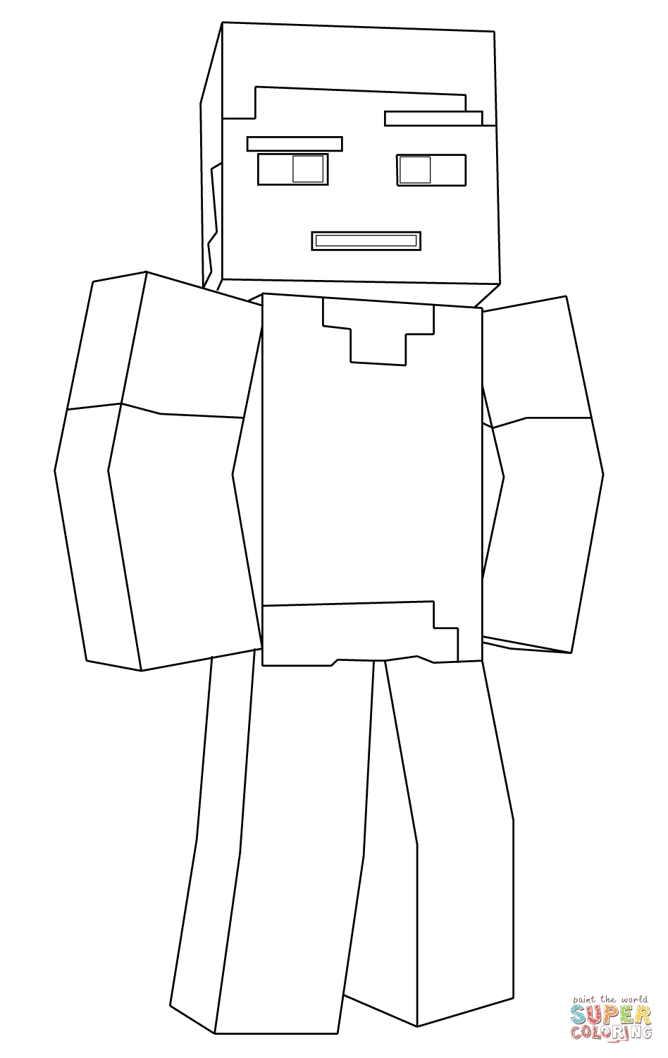 minecraft steve coloring pages - minecraft steve
