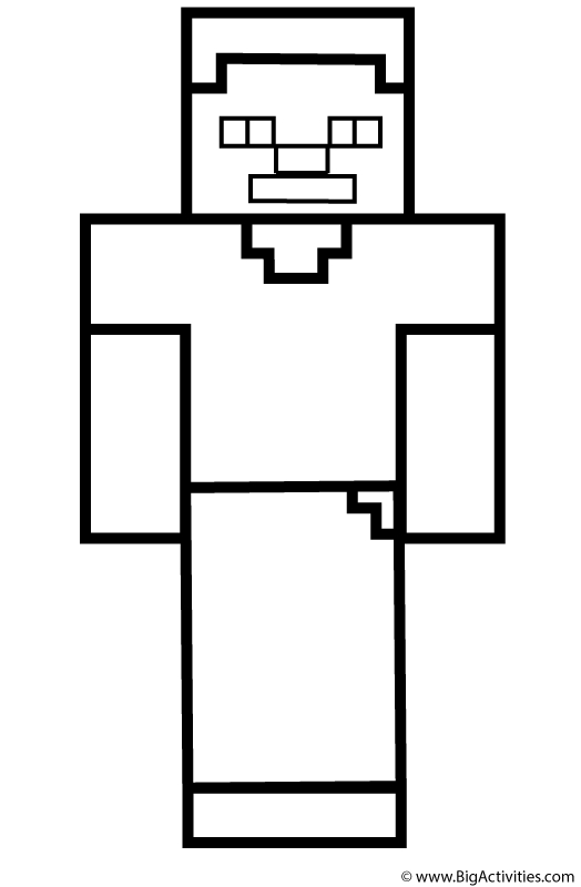 minecraft steve coloring pages - steve