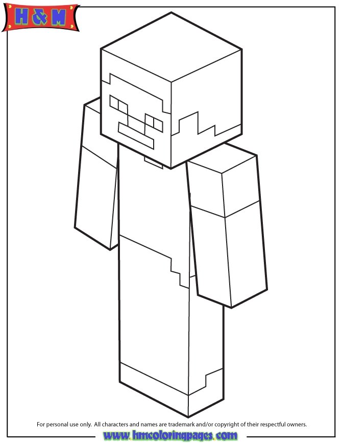 minecraft steve coloring pages - steve from minecraft