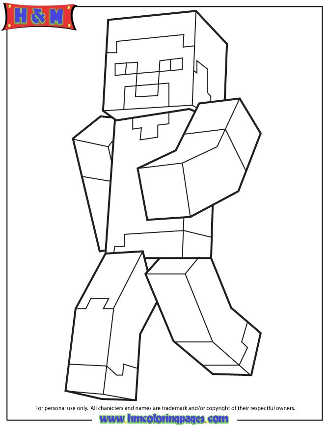 minecraft steve coloring pages - steve jogging