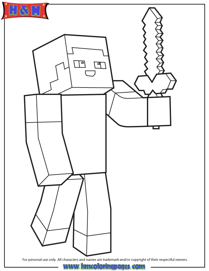minecraft sword coloring pages - minecraft person holding sword