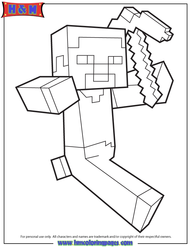 Minecraft Steve With Picaxe Coloring Page