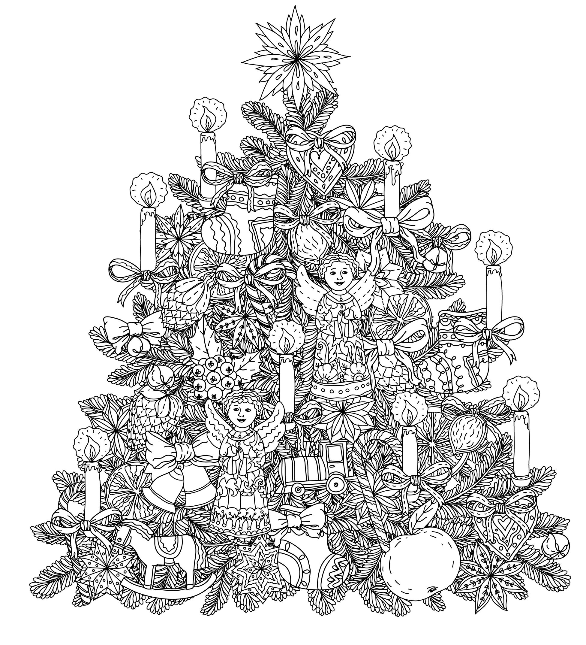 mistletoe coloring pages - adult christmas coloring pages