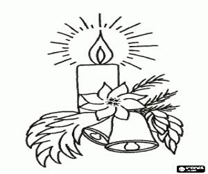 mistletoe coloring pages - dibujos para colorear de velas navideñas